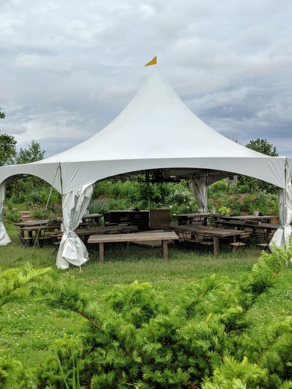Event tent at Tangled Garden